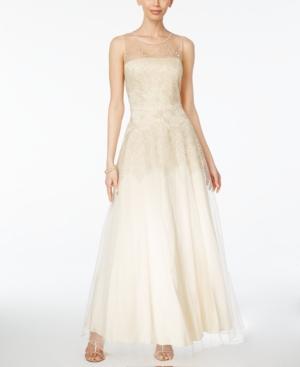 Vintage Inspired Wedding Dresses Tahari Asl Embroidered Mesh Gown $239.00 AT vintagedancer.com