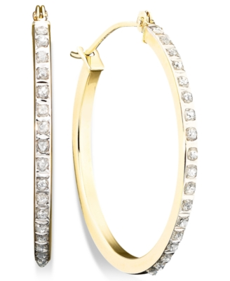 14k Gold Diamond-Accented Round Hoop Earrings
