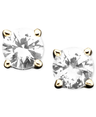 14k Gold White Sapphire Stud Earrings (1 ct. t.w.) - Earring Studs