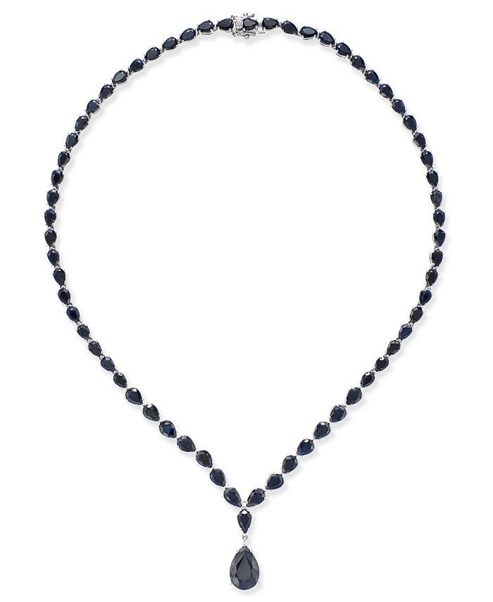 Macy's - Black Sapphire Collar Necklace (28 ct. t.w.) in Sterling Silver