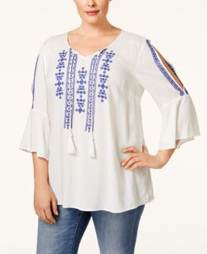 Style & Co. Plus Size Cold-Shoulder Peasant Top, Only at Macy's