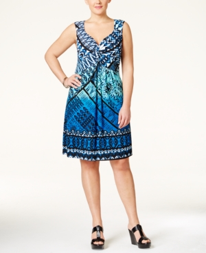 Style & Co. Plus Size Printed Twist-Front Dress, Only at Macy's