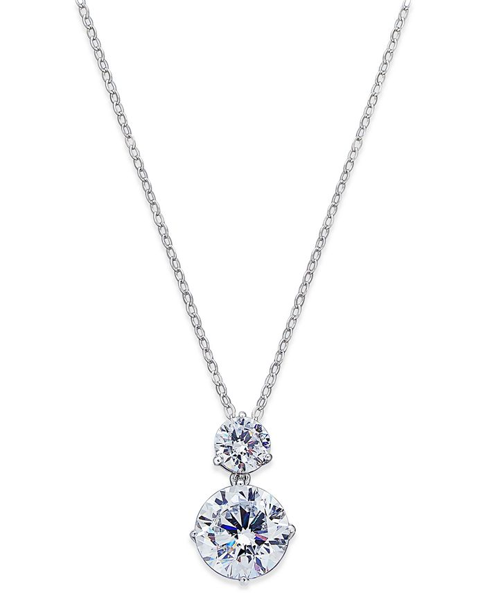 Eliot Danori - Silver-Tone Cubic Zirconia Double Pendant Necklace