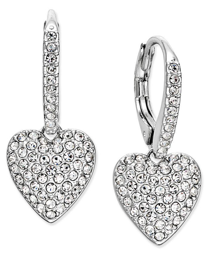 Eliot Danori - Silver-Tone Pavé Heart Drop Earrings