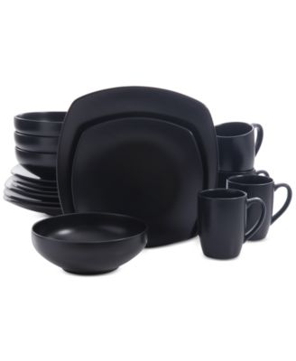 Signature Living 16-Pc. Majorca Matte Glaze Black Square Dinnerware Set