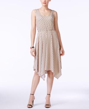 Ny Collection Polka-Dot A-Line Handkerchief-Hem Dress $33.99 AT vintagedancer.com