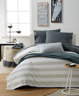 Remodo For Macy's Gray Stripe 9-Pc. Full/Queen Duvet Boxed Room