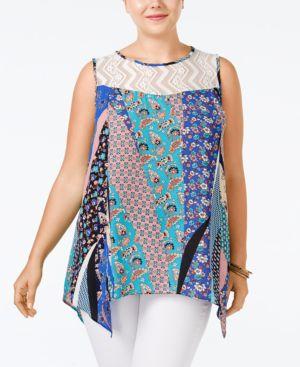 Ing Trendy Plus Size Printed Handkerchief-Hem Top