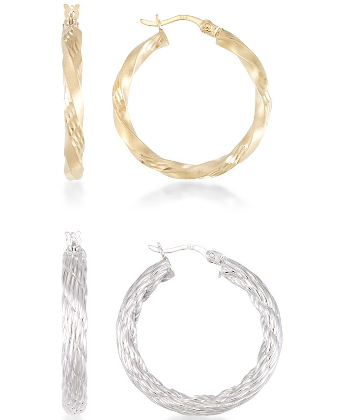 Macy's - 2-Pc. Set Rope and Satin Finish Round Hoop Earrings in 14k Yellow and White Vermeil