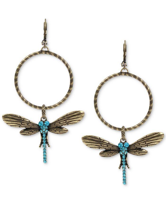 Betsey Johnson - Gold-Tone Blue Crystal Dragonfly Gypsy Hoop Earrings