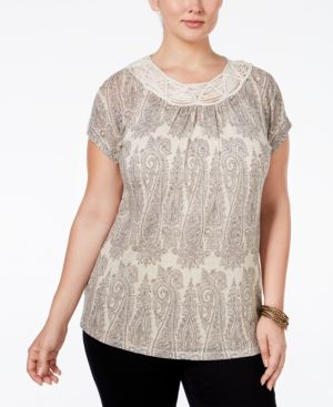 Lucky Brand Trendy Plus Size Macrame-Trim Printed T-Shirt