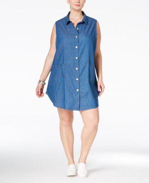 Stoosh Trendy Plus Size Chambray Shirtdress