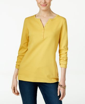 Image of Karen Scott Long-Sleeve Henley Top, Only at Macy's