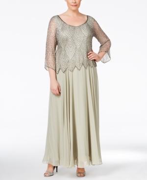Plus Size Retro Dresses J Kara Plus Size Embellished A-Line Gown $229.99 AT vintagedancer.com