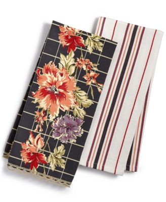 Martha Stewart Collection 2-Pc. Dark Ground Floral Towels, Only at Macy's