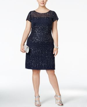 Adrianna Papell Plus Size Beaded Cocktail Dress