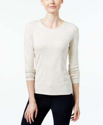Image of Charter Club Pima Cotton Long-Sleeve Top