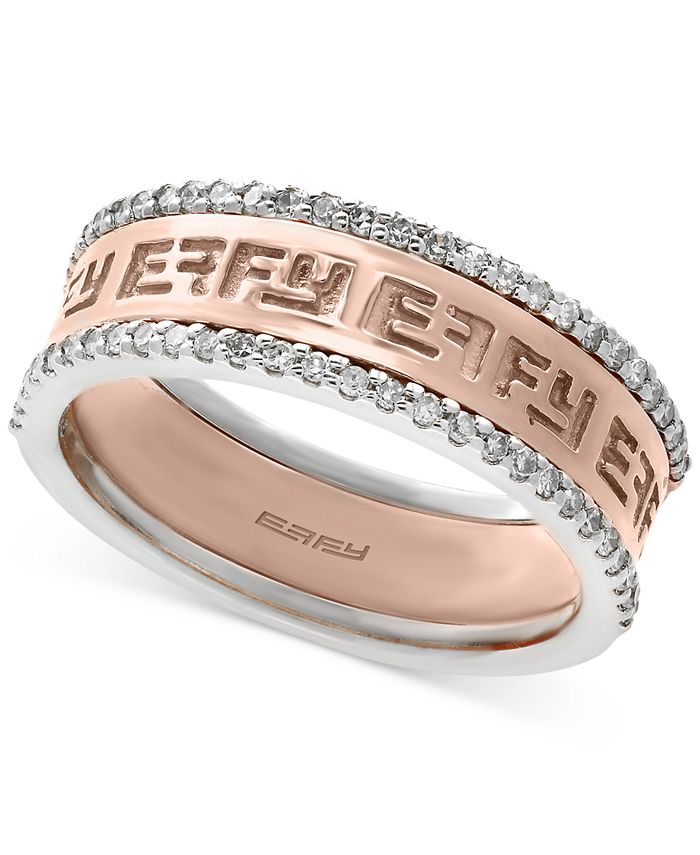 EFFY Collection - Diamond Band (1/4 ct. t.w.) in 14k White and Rose Gold