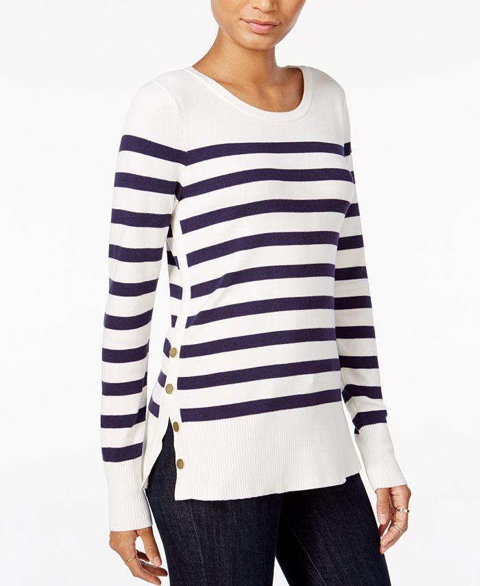 Maison Jules - Striped Button-Detail Sweater