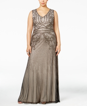 1930sStyleFashionDresses Adrianna Papell Plus Size Beaded A-Line Gown $399.00 AT vintagedancer.com