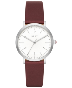 Dkny Women's Dress Case Burgundy Leather Strap Watch 36mm NY2508