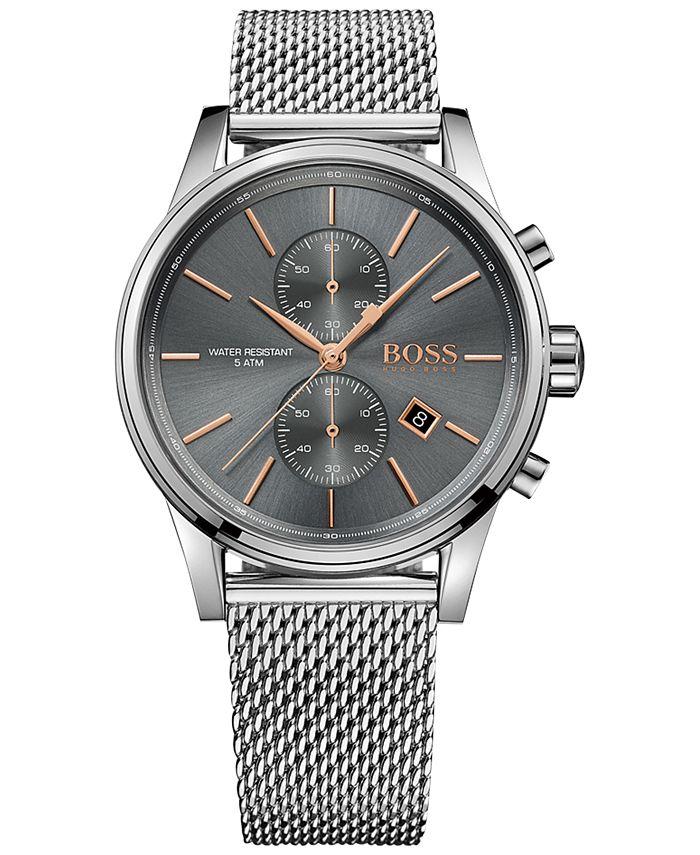 BOSS - Men's Chronograph Jet Stainless Steel Mesh Bracelet Watch 41mm 1513440
