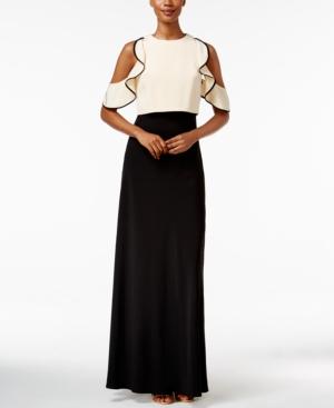 Modern Vintage Evening Dresses and Formal Evening Gowns Jill Jill Stuart Colorblocked Cold-Shoulder Ruffled Gown $338.00 AT vintagedancer.com