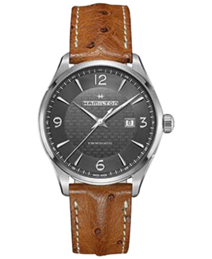 Hamilton - Men's Swiss Automatic Jazzmaster Viewmatic Light Brown Ostrich Leather Strap Watch 44mm H32755851