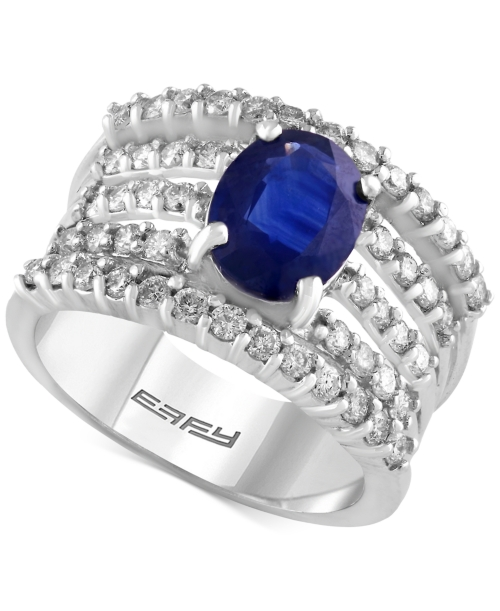 Effy Final Call Sapphire (1-9/10 ct. t.w.) and Diamond (1 ct. t.w.) Multi-Row Ring in 14k White Gold
