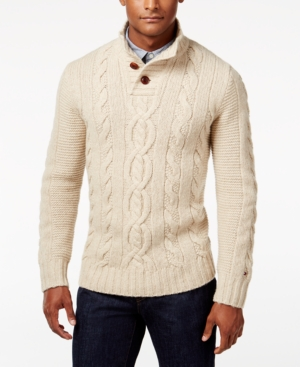 Men's Vintage Style Sweaters – 1920s to 1960s Tommy Hilfiger Mens Bruce Stand-Collar Cable-Knit Sweater $149.00 AT vintagedancer.com