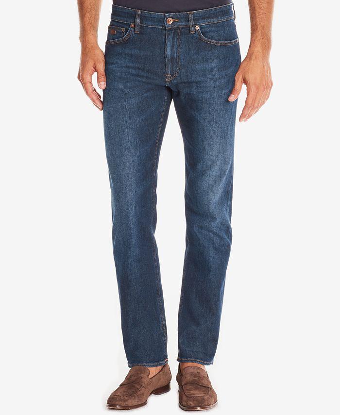 Hugo Boss - Men's Regular/Classic-Fit Dark Wash Whiskered Jeans