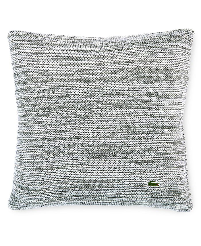 """Lacoste Home - Chunky Space-Dyed 18"""" Square Light Gray Decorative Pillow"""