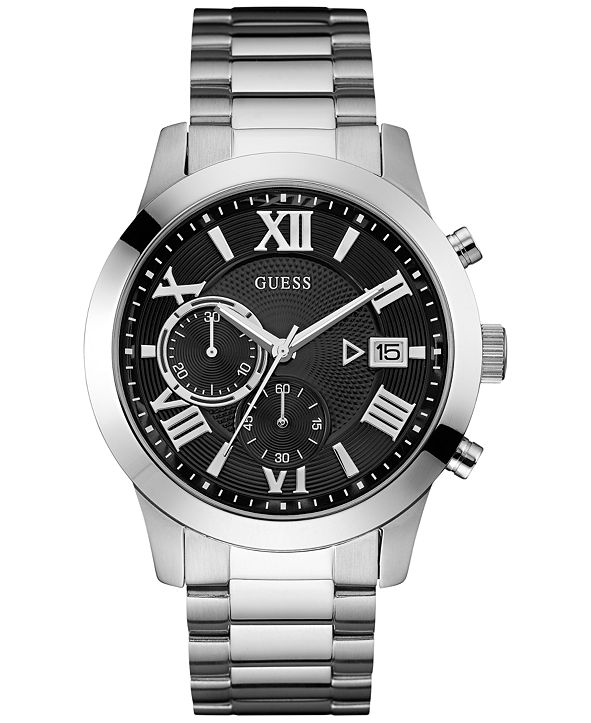 GUESS Men's Chronograph Stainless Steel Bracelet Watch 45mm U0668G3