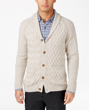 Men's Vintage Style Sweaters – 1920s to 1960s Tasso Elba Mens Textured Shawl-Collar Cardigan Only at Macys $39.99 AT vintagedancer.com