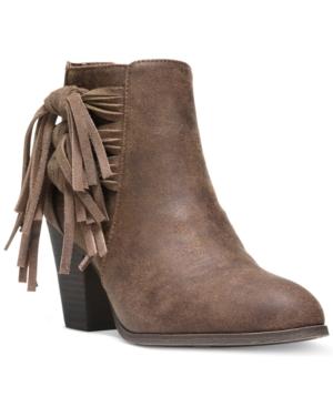 Fergalicious Clover Fringe Ankle Booties Women's Shoes