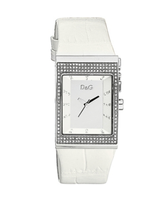 D&G Watch, Women's Logo Side White Leather Strap DW0155