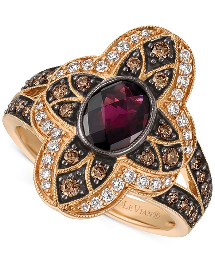 Le Vian - Rhodolite Garnet (1 ct. t.w.) and Diamond (5/8 ct. t.w.) Statement Ring in 14k Rose Gold