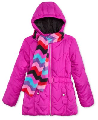 Image of S. Rothschild 2-Pc. Quilted Puffer Jacket & Scarf Set, Toddler Girls (2T-4T) & Little Girls (2-6X)