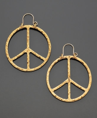 Lucky Brand Goldtone Peace Sign Earrings