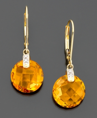 14k Gold Citrine (8-7/8 ct. t.w.) & Diamond Accent Earrings