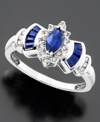 14k White Gold Sapphire (3/4 ct. t.w.) & Diamond (1/8 ct. t.w.) Ring - Gemstone Ring