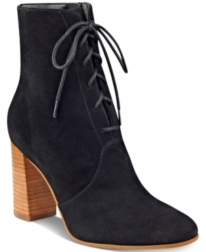 Marc Fisher Edina Block-Heel Lace-Up Ankle Booties Women's Shoes