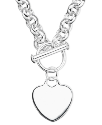 Sterling Silver Heart Tag Necklace - Heart Pendant