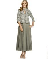 Alex Evenings Pleated Dress with Mandarin-Collar Jacket