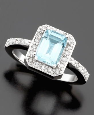 14k White Gold Emerald-Cut Aquamarine (1-3/8 ct. t.w.) & Diamond (3/8 ct. t.w.) Ring