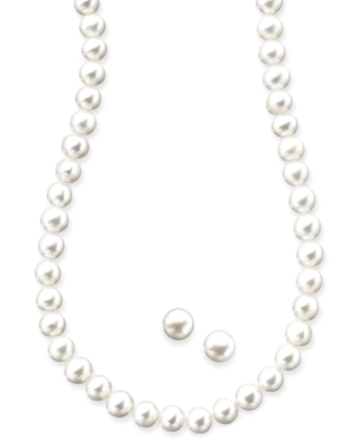 Sterling Silver Freshwater Pearl Necklace and Earring Set