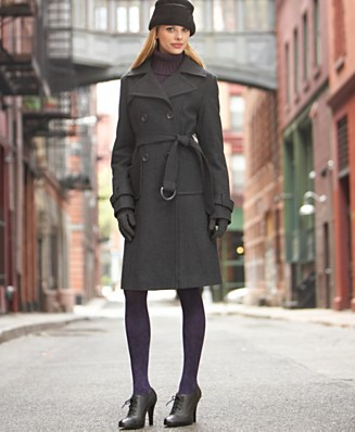 Steve Madden Double-Breasted Wool Trench Coat - Wool Coats - Women's  - Macy's :  wool pea coat belted charcoal