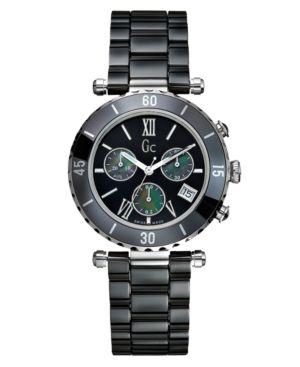 Gc Swiss Made Timepieces Watch, Women's Chronograph Black Ceramic Bracelet G43001M2