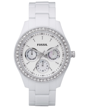 Fossil Watch Womens Stella White Resin Bracelet with Crystals 37MM ES1967