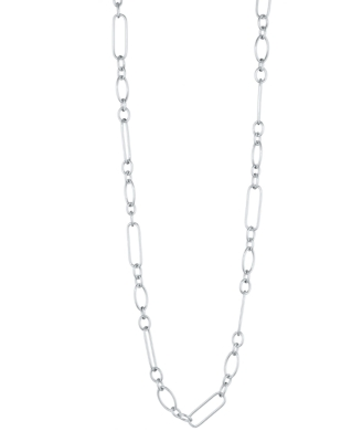 L'una Sterling Silver Oval Link Necklace